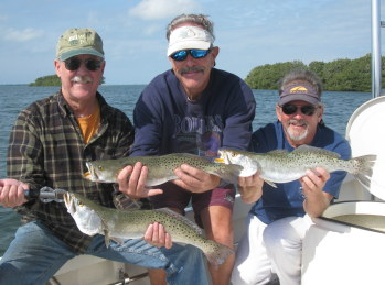 Fishermen with 3 big Tampa Bay seatrout