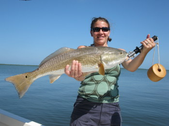 woman with big redfish