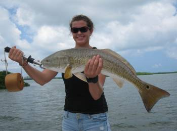woman with redfish
